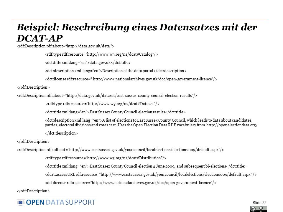Beispiel: Beschreibung eines Datensatzes mit der DCAT-AP data.gov.uk Description of the data portal East Sussex County Council election results A list