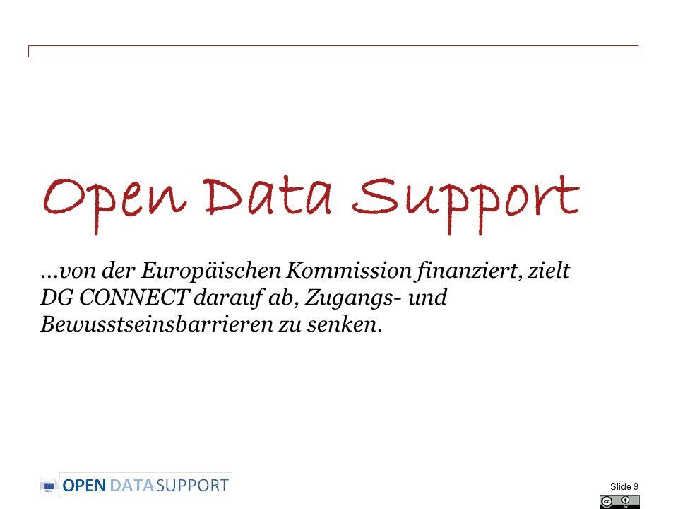Open Data Support...von der Europäischen Kommission finanziert, zielt DG CONNECT darauf ab, Zugangs- und Bewusstseinsbarrieren zu senken. Slide 9