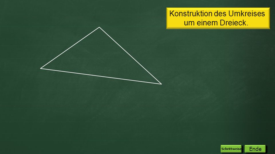 Fertig! Konstruktion des Umkreises um einem Dreieck. Automatisch Ende Schrittweise
