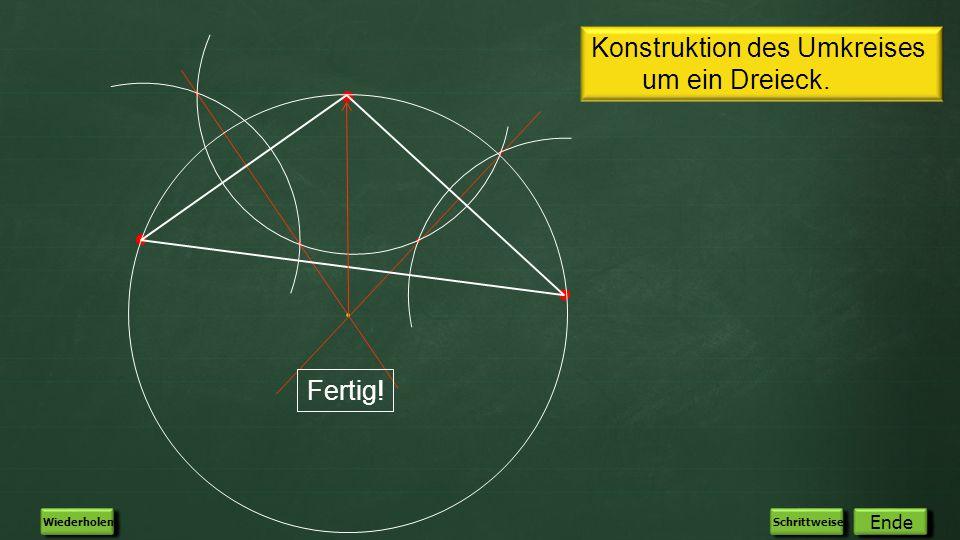 Konstruktion des Umkreises um ein Dreieck. Fertig! Automatisch Ende Wiederholen Schrittweise