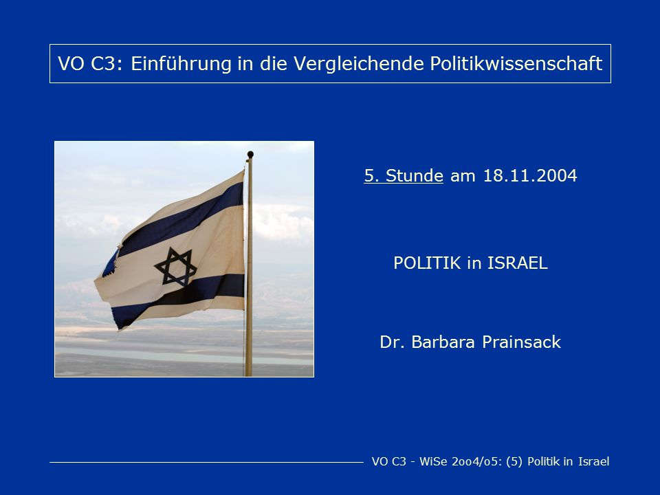 VO C3 - WiSe 2oo4/o5: (5) Politik in Israel Offizieller Name: Medinat Israel (international nicht anerkannte) Hauptstadt: Jerusalem Amtssprachen: Hebräisch, Arabisch