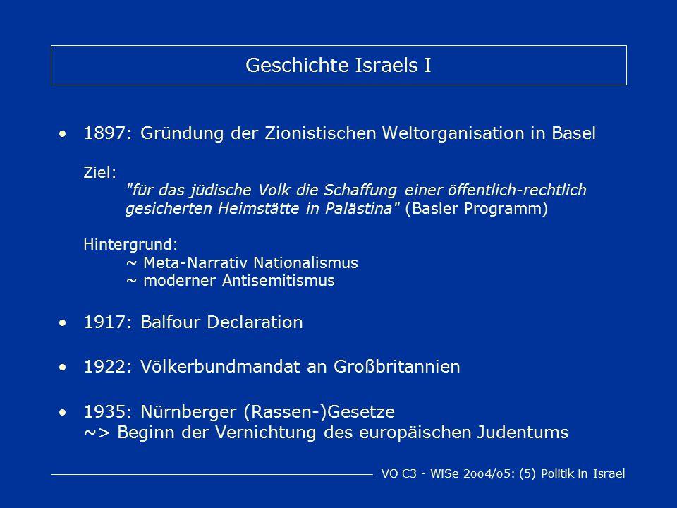 VO C3 - WiSe 2oo4/o5: (5) Politik in Israel Geschichte Israels I 1897: Gründung der Zionistischen Weltorganisation in Basel Ziel: für das jüdische Volk die Schaffung einer öffentlich-rechtlich gesicherten Heimstätte in Palästina (Basler Programm) Hintergrund: ~ Meta-Narrativ Nationalismus ~ moderner Antisemitismus 1917: Balfour Declaration 1922: Völkerbundmandat an Großbritannien 1935: Nürnberger (Rassen-)Gesetze ~> Beginn der Vernichtung des europäischen Judentums