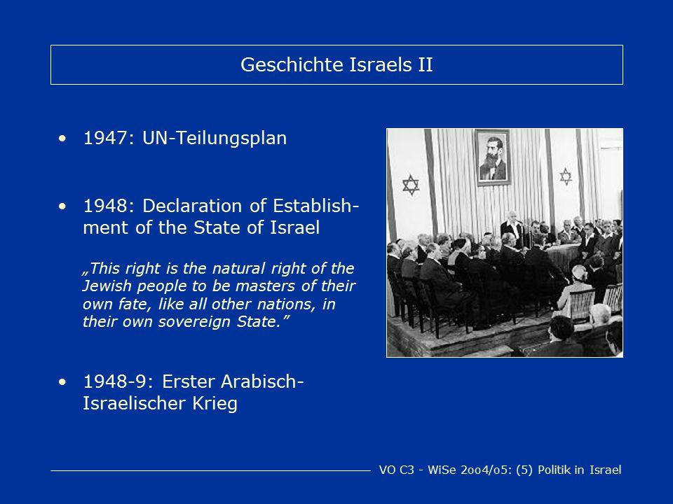 VO C3 - WiSe 2oo4/o5: (5) Politik in Israel HaKnesset Ein-Kammer-Parlament Proportionale Wahl von 120 Abgeordneten ~ theoretisch alle 4 Jahre ~ Wahlberechtigt sind israelische StaatsbürgerInnen über 18 Jahre 12 ständige Ausschüsse + Committees on particular matters