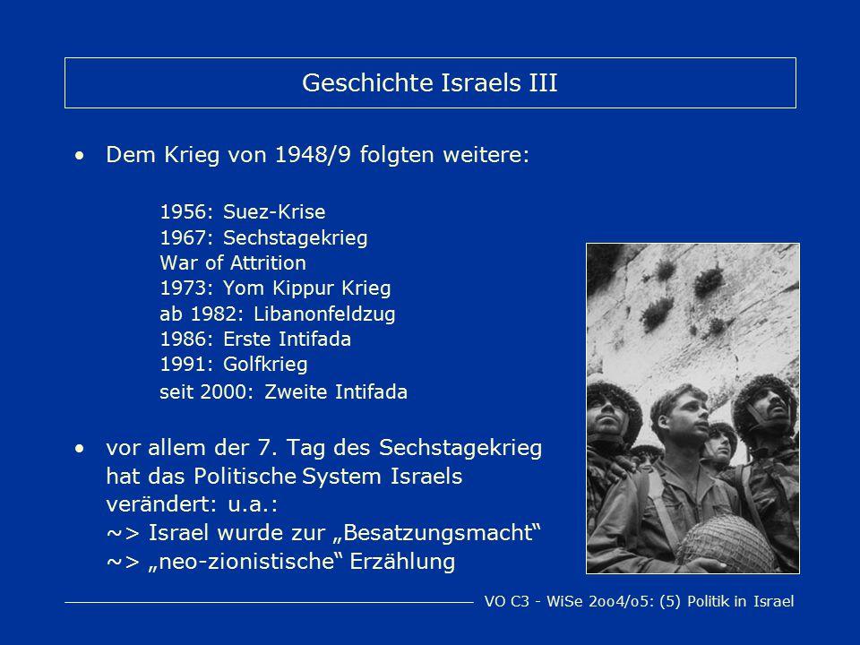 VO C3 - WiSe 2oo4/o5: (5) Politik in Israel Geschichte Israels III Dem Krieg von 1948/9 folgten weitere: 1956: Suez-Krise 1967: Sechstagekrieg War of Attrition 1973: Yom Kippur Krieg ab 1982: Libanonfeldzug 1986: Erste Intifada 1991: Golfkrieg seit 2000: Zweite Intifada vor allem der 7.