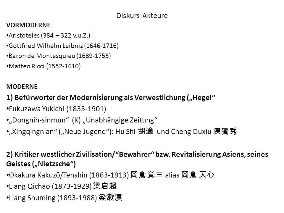 Diskurs-Akteure VORMODERNE Aristoteles (384 – 322 v.u.Z.) Gottfried Wilhelm Leibniz (1646-1716) Baron de Montesquieu (1689-1755) Matteo Ricci (1552-16