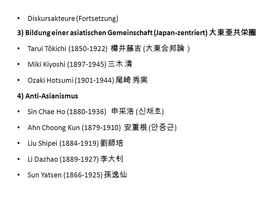Diskursakteure (Fortsetzung) 3) Bildung einer asiatischen Gemeinschaft (Japan-zentriert) 大東亜共栄圏 Tarui Tōkichi (1850-1922) 樽井藤吉 ( 大東合邦論) Miki Kiyoshi (