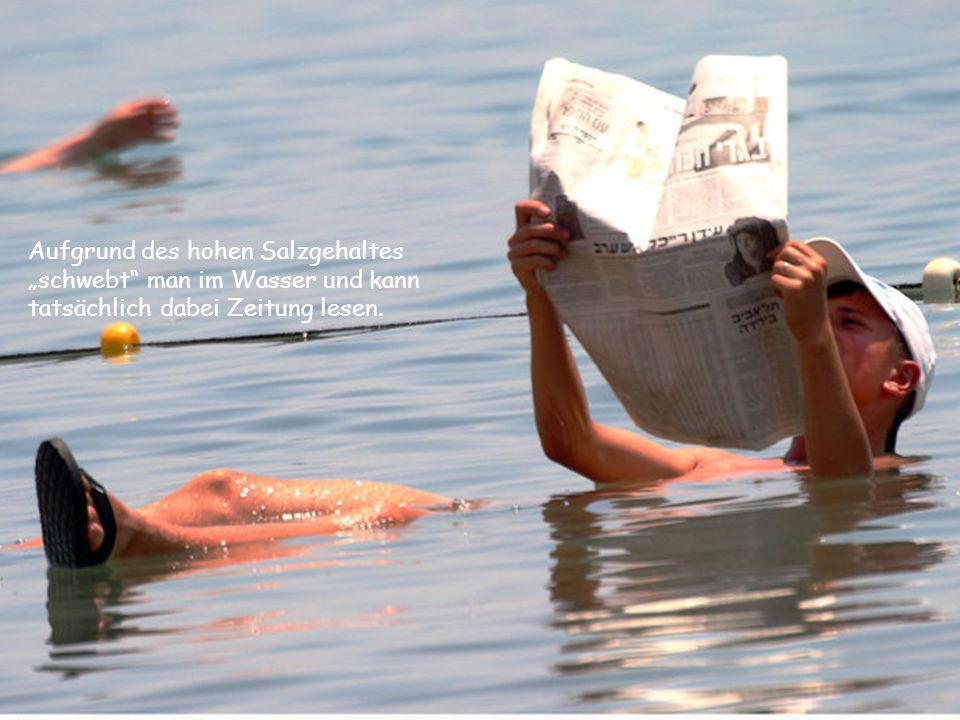 """Aufgrund des hohen Salzgehaltes """"schwebt man im Wasser und kann tatsächlich dabei Zeitung lesen."""