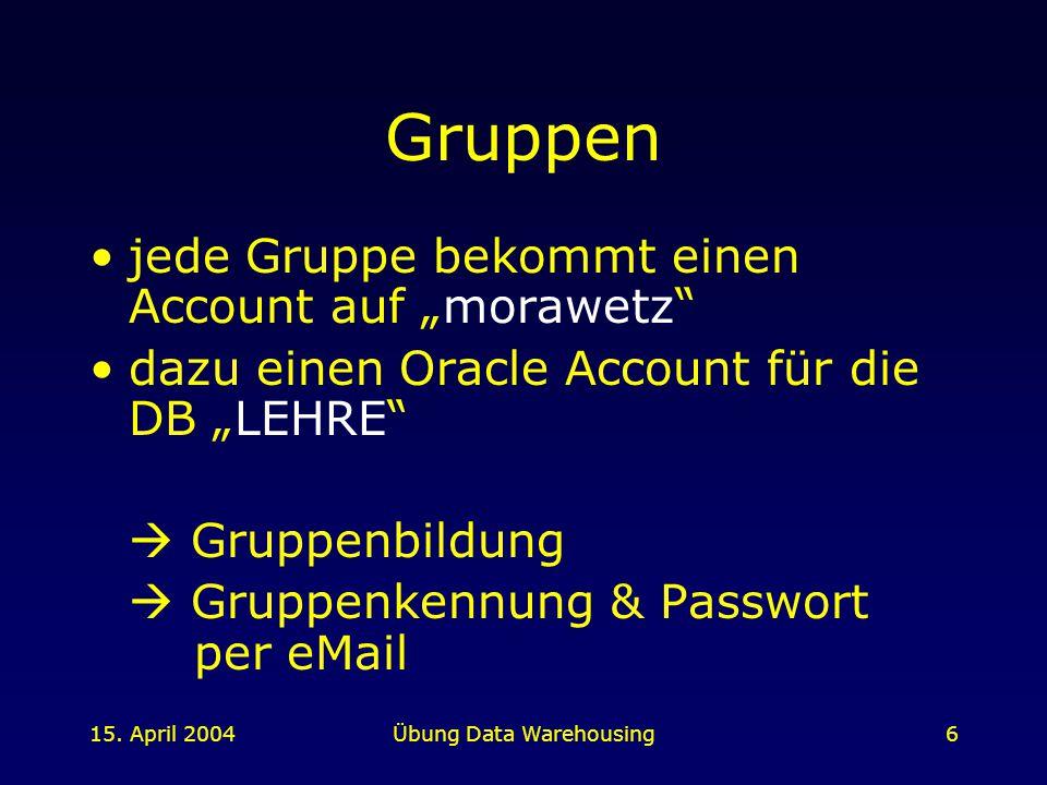 """15. April 2004Übung Data Warehousing6 Gruppen jede Gruppe bekommt einen Account auf """"morawetz"""" dazu einen Oracle Account für die DB """"LEHRE""""  Gruppenb"""