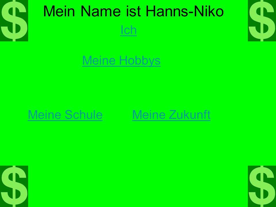 Ich Mein Name ist Hanns-Niko Meine Hobbys Meine SchuleMeine Zukunft