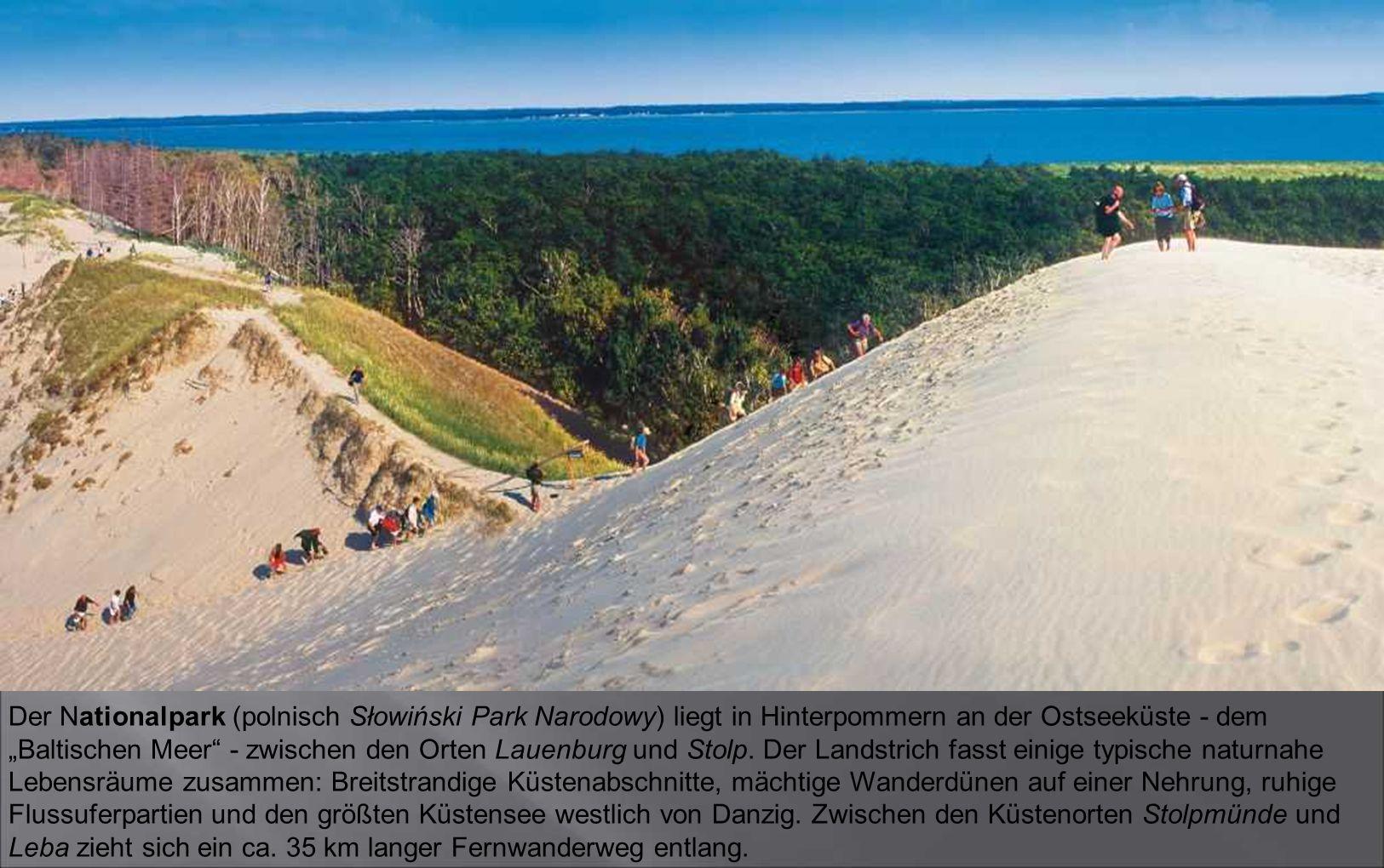 """Der Nationalpark (polnisch Słowiński Park Narodowy) liegt in Hinterpommern an der Ostseeküste - dem """"Baltischen Meer - zwischen den Orten Lauenburg und Stolp."""