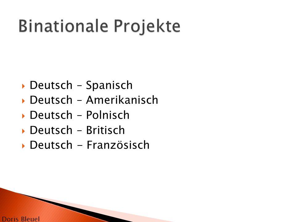  Deutsch – Spanisch  Deutsch – Amerikanisch  Deutsch – Polnisch  Deutsch – Britisch  Deutsch - Französisch Doris Bleuel