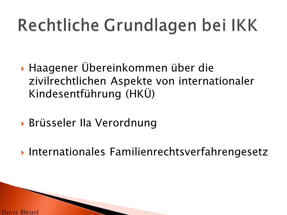 Haagener Übereinkommen über die zivilrechtlichen Aspekte von internationaler Kindesentführung (HKÜ)  Brüsseler IIa Verordnung  Internationales Fam