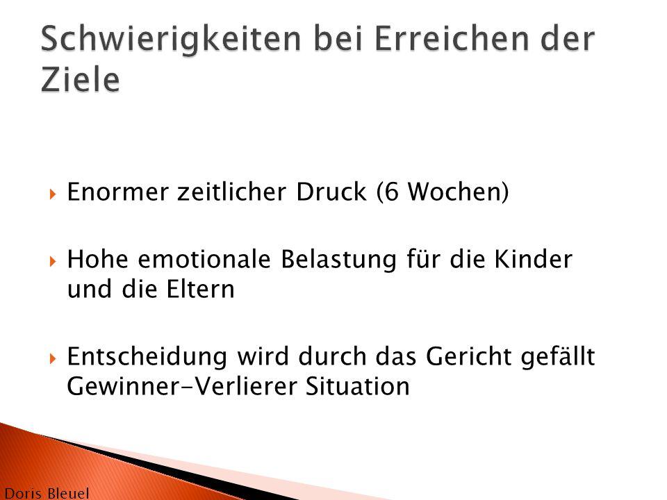  Enormer zeitlicher Druck (6 Wochen)  Hohe emotionale Belastung für die Kinder und die Eltern  Entscheidung wird durch das Gericht gefällt Gewinner