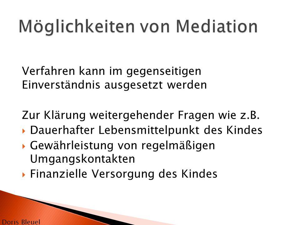  Binationale Co-Mediation  Mediatoren gleicher Herkunft wie Parteien  Vertretung beider Geschlechter  Vertreter aus psychologischer/ pädagogischer/juristischer Berufsgruppe  Schnelle Einsetzbarkeit Doris Bleuel