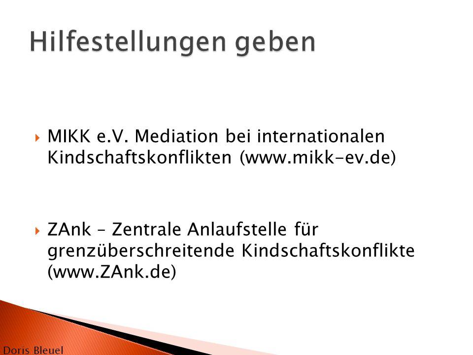  MIKK e.V. Mediation bei internationalen Kindschaftskonflikten (www.mikk-ev.de)  ZAnk – Zentrale Anlaufstelle für grenzüberschreitende Kindschaftsko