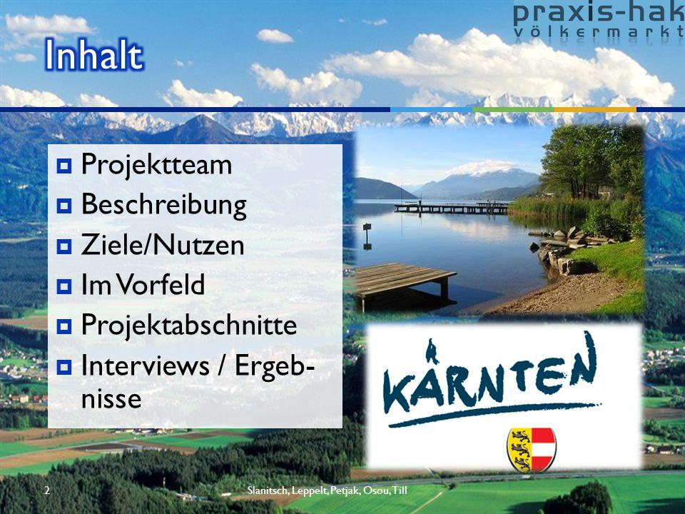 2  Projektteam  Beschreibung  Ziele/Nutzen  Im Vorfeld  Projektabschnitte  Interviews / Ergeb- nisse