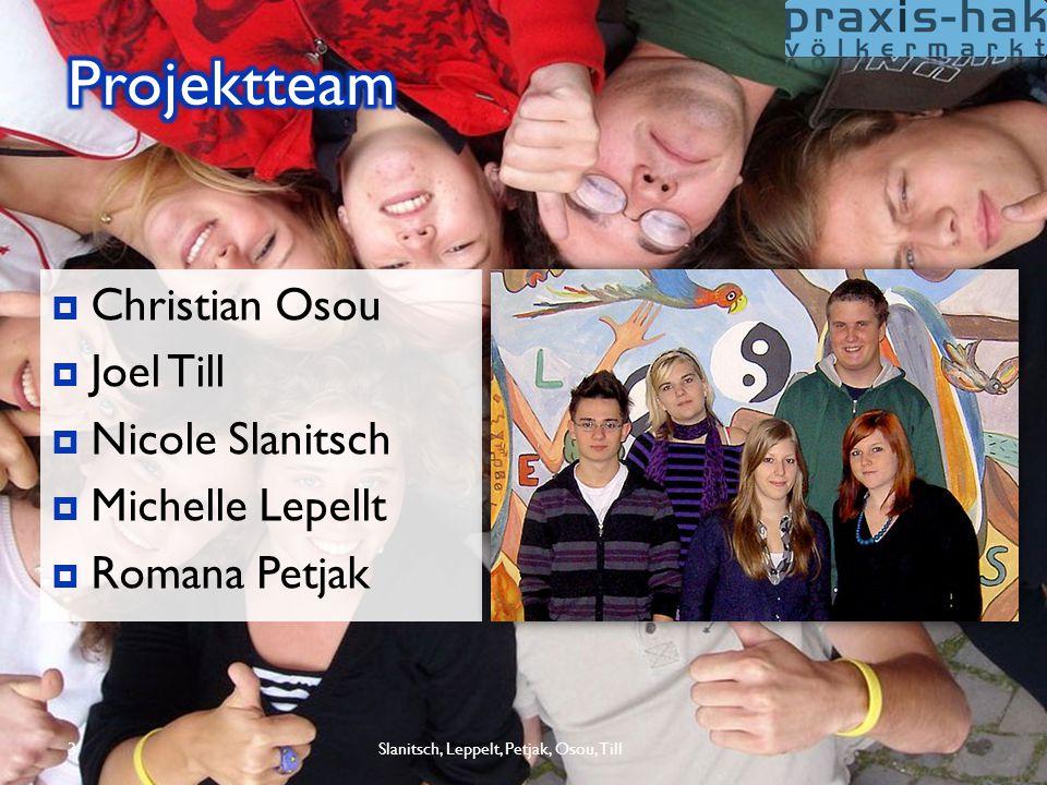 Slanitsch, Leppelt, Petjak, Osou, Till3  Christian Osou  Joel Till  Nicole Slanitsch  Michelle Lepellt  Romana Petjak