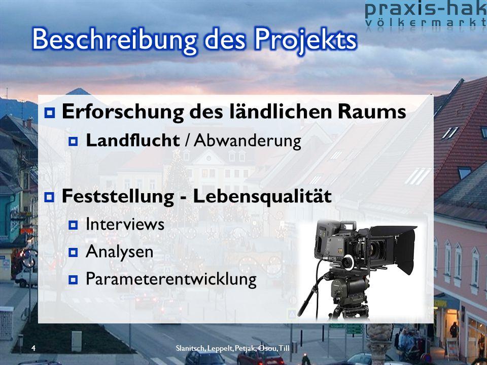 Slanitsch, Leppelt, Petjak, Osou, Till4  Erforschung des ländlichen Raums  Landflucht / Abwanderung  Feststellung - Lebensqualität  Interviews  A