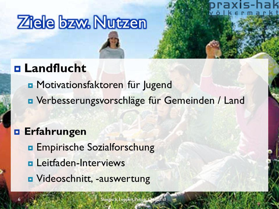  Landflucht  Motivationsfaktoren für Jugend  Verbesserungsvorschläge für Gemeinden / Land  Erfahrungen  Empirische Sozialforschung  Leitfaden-In