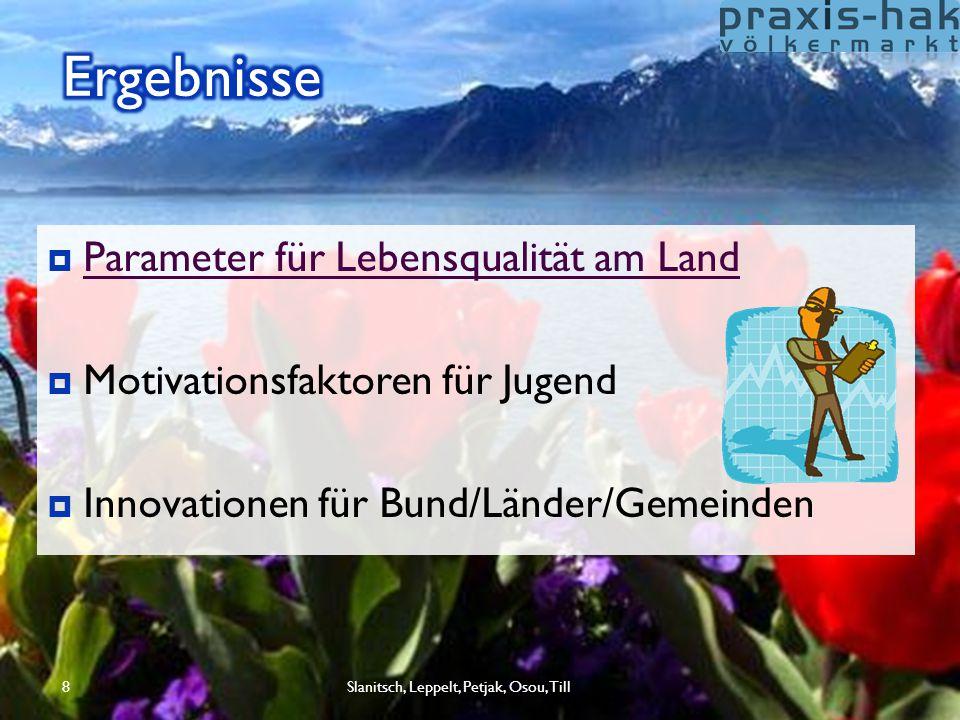8  Parameter für Lebensqualität am Land Parameter für Lebensqualität am Land  Motivationsfaktoren für Jugend  Innovationen für Bund/Länder/Gemeinde