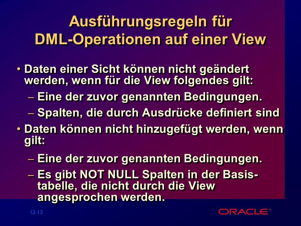 12-13 Ausführungsregeln für DML-Operationen auf einer View Daten einer Sicht können nicht geändert werden, wenn für die View folgendes gilt: – Eine der zuvor genannten Bedingungen.