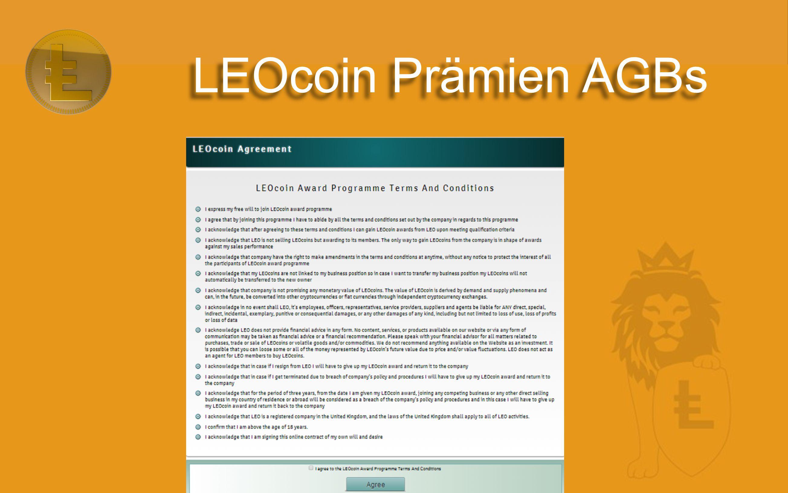 LEOcoin Prämien AGBs
