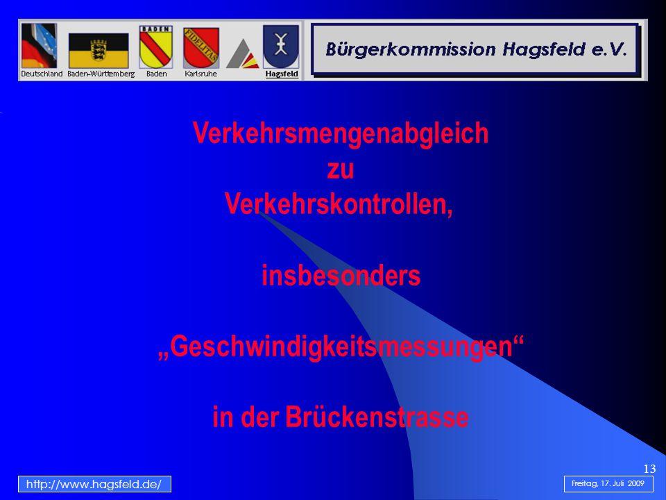 """13 http://www.hagsfeld.de/ Freitag, 17. Juli 2009 Verkehrsmengenabgleich zu Verkehrskontrollen, insbesonders """"Geschwindigkeitsmessungen"""" in der Brücke"""
