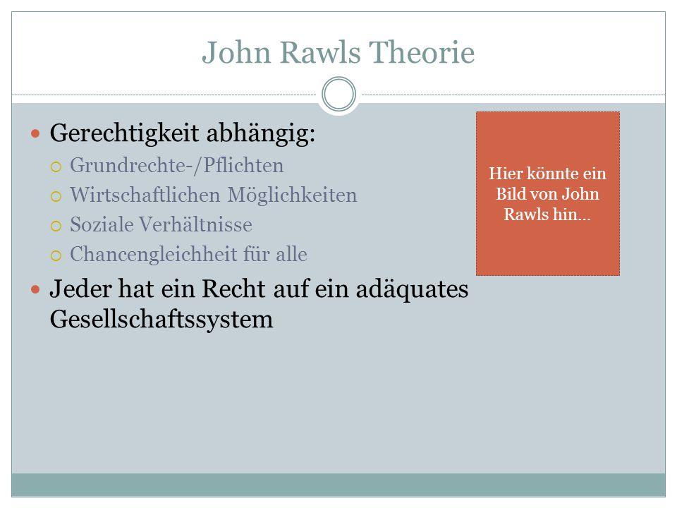 Gerechtigkeit abhängig:  Grundrechte-/Pflichten  Wirtschaftlichen Möglichkeiten  Soziale Verhältnisse  Chancengleichheit für alle Jeder hat ein Recht auf ein adäquates Gesellschaftssystem Hier könnte ein Bild von John Rawls hin…