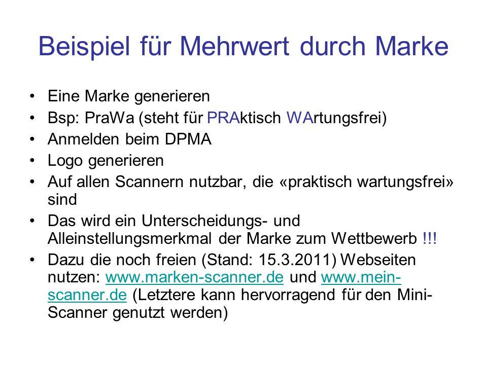 Beispiel für Mehrwert durch Marke Eine Marke generieren Bsp: PraWa (steht für PRAktisch WArtungsfrei) Anmelden beim DPMA Logo generieren Auf allen Sca