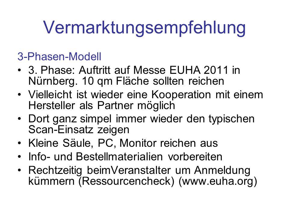 Vermarktungsempfehlung 3-Phasen-Modell 3. Phase: Auftritt auf Messe EUHA 2011 in Nürnberg. 10 qm Fläche sollten reichen Vielleicht ist wieder eine Koo