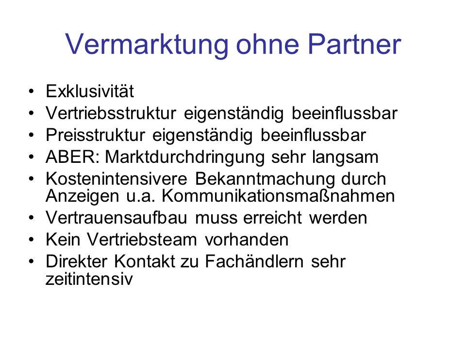 Vermarktung ohne Partner Exklusivität Vertriebsstruktur eigenständig beeinflussbar Preisstruktur eigenständig beeinflussbar ABER: Marktdurchdringung s