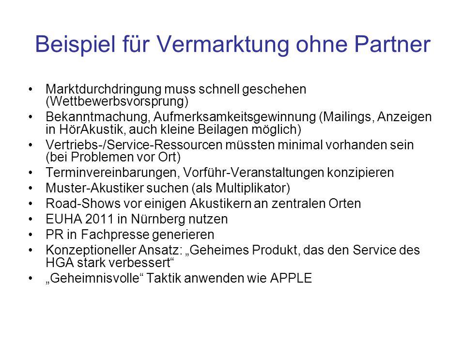Beispiel für Vermarktung ohne Partner Marktdurchdringung muss schnell geschehen (Wettbewerbsvorsprung) Bekanntmachung, Aufmerksamkeitsgewinnung (Maili
