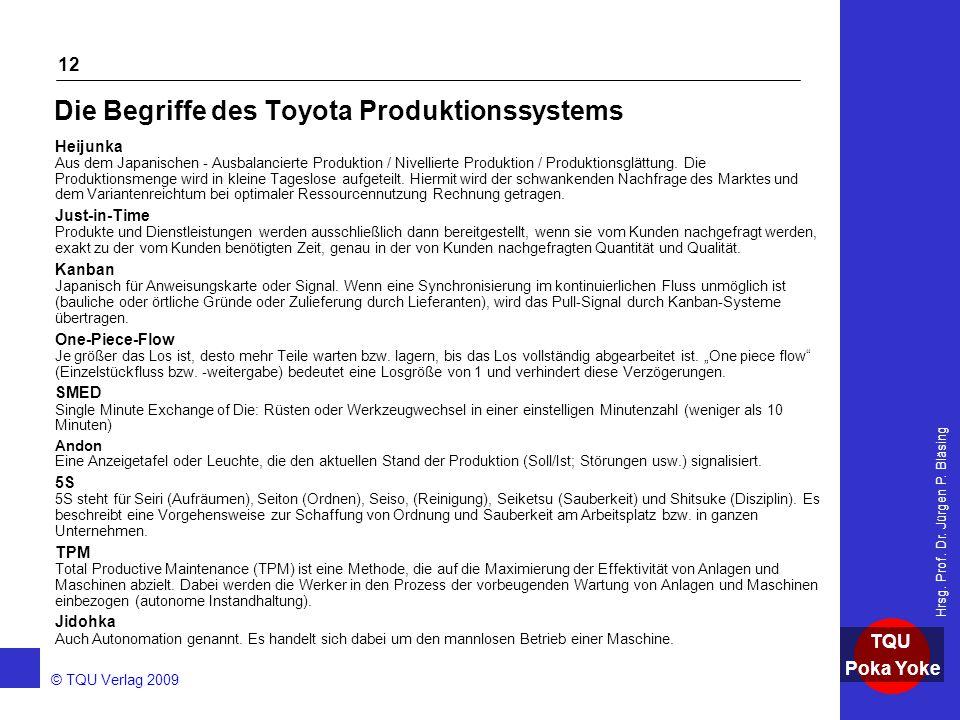 AKADEMIE © TQU Verlag 2009 TQU Poka Yoke Hrsg. Prof. Dr. Jürgen P. Bläsing 12 Die Begriffe des Toyota Produktionssystems Heijunka Aus dem Japanischen