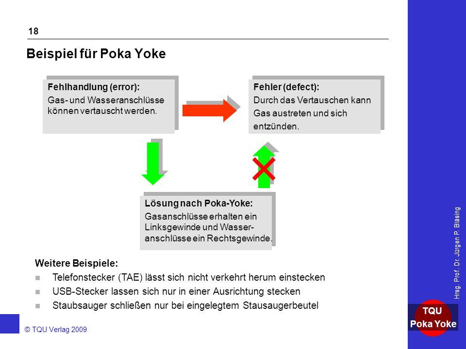 AKADEMIE © TQU Verlag 2009 TQU Poka Yoke Hrsg. Prof. Dr. Jürgen P. Bläsing 18 Beispiel für Poka Yoke Fehlhandlung (error): Gas- und Wasseranschlüsse k
