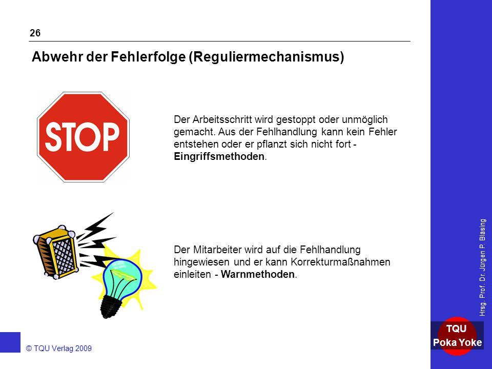 AKADEMIE © TQU Verlag 2009 TQU Poka Yoke Hrsg. Prof. Dr. Jürgen P. Bläsing 26 Abwehr der Fehlerfolge (Reguliermechanismus) Der Arbeitsschritt wird ges