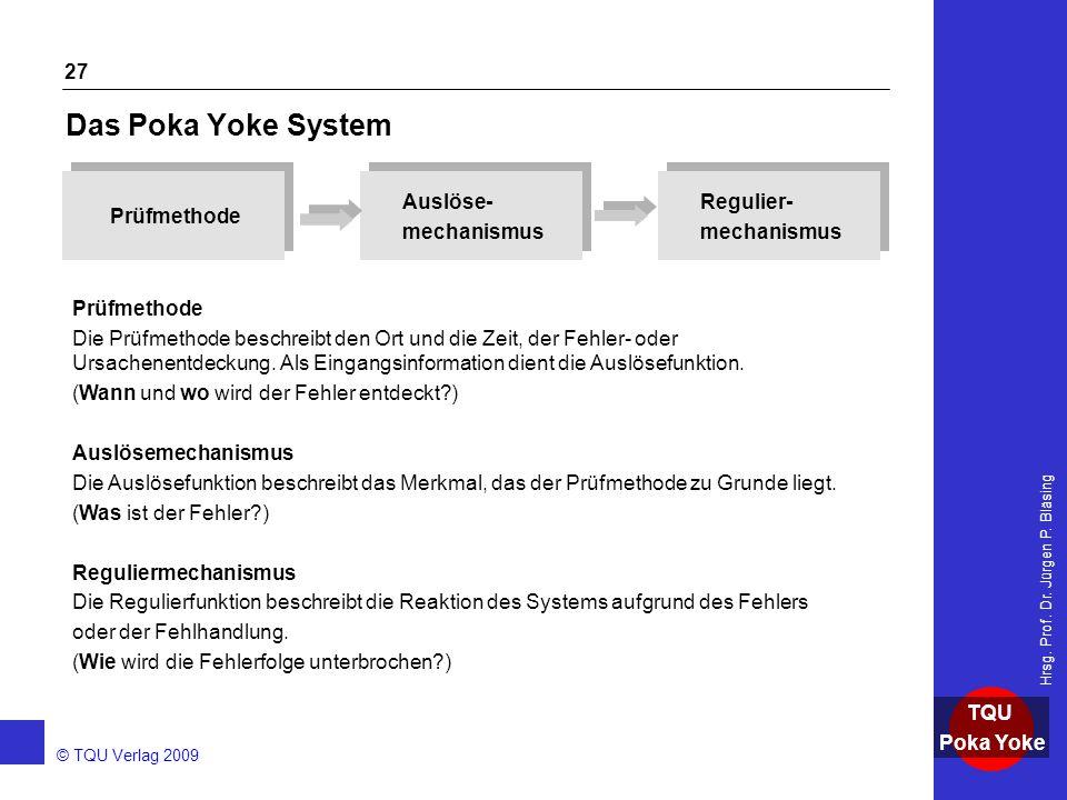 AKADEMIE © TQU Verlag 2009 TQU Poka Yoke Hrsg. Prof. Dr. Jürgen P. Bläsing 27 Das Poka Yoke System Prüfmethode Auslöse- mechanismus Auslöse- mechanism