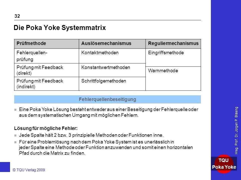 AKADEMIE © TQU Verlag 2009 TQU Poka Yoke Hrsg. Prof. Dr. Jürgen P. Bläsing 32 Die Poka Yoke Systemmatrix n Eine Poka Yoke Lösung besteht entweder aus
