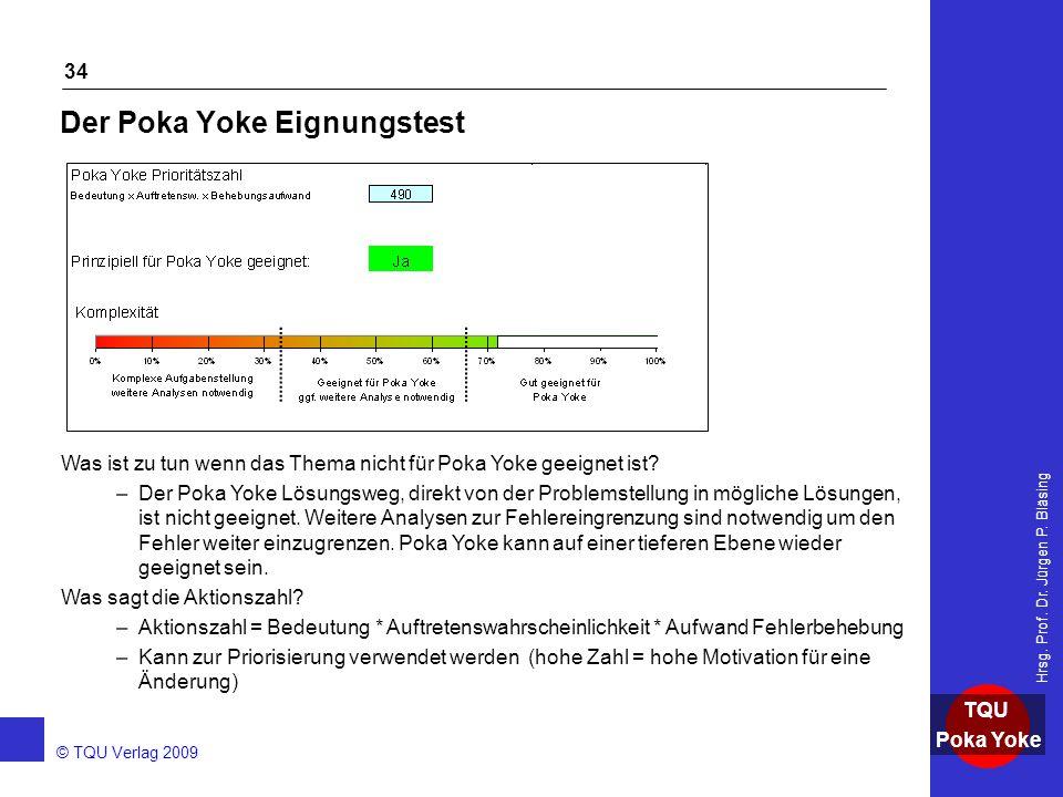 AKADEMIE © TQU Verlag 2009 TQU Poka Yoke Hrsg. Prof. Dr. Jürgen P. Bläsing 34 Der Poka Yoke Eignungstest Was ist zu tun wenn das Thema nicht für Poka