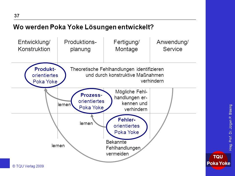 AKADEMIE © TQU Verlag 2009 TQU Poka Yoke Hrsg. Prof. Dr. Jürgen P. Bläsing 37 Wo werden Poka Yoke Lösungen entwickelt? Fehler- orientiertes Poka Yoke