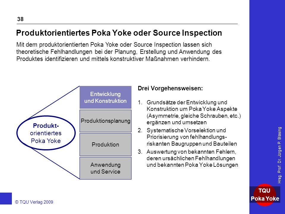 AKADEMIE © TQU Verlag 2009 TQU Poka Yoke Hrsg. Prof. Dr. Jürgen P. Bläsing 38 Produktorientiertes Poka Yoke oder Source Inspection Drei Vorgehensweise