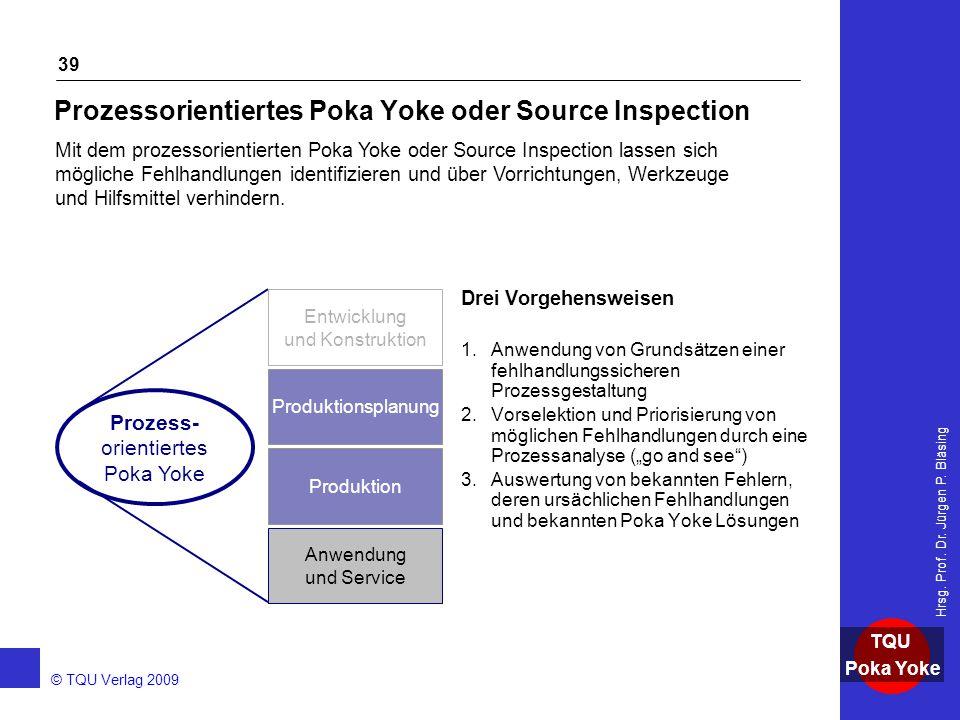 AKADEMIE © TQU Verlag 2009 TQU Poka Yoke Hrsg. Prof. Dr. Jürgen P. Bläsing 39 Prozessorientiertes Poka Yoke oder Source Inspection Drei Vorgehensweise