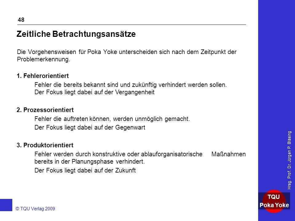 AKADEMIE © TQU Verlag 2009 TQU Poka Yoke Hrsg. Prof. Dr. Jürgen P. Bläsing 48 Zeitliche Betrachtungsansätze Die Vorgehensweisen für Poka Yoke untersch