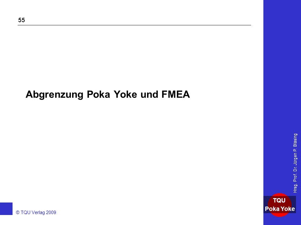 AKADEMIE © TQU Verlag 2009 TQU Poka Yoke Hrsg. Prof. Dr. Jürgen P. Bläsing 55 Abgrenzung Poka Yoke und FMEA