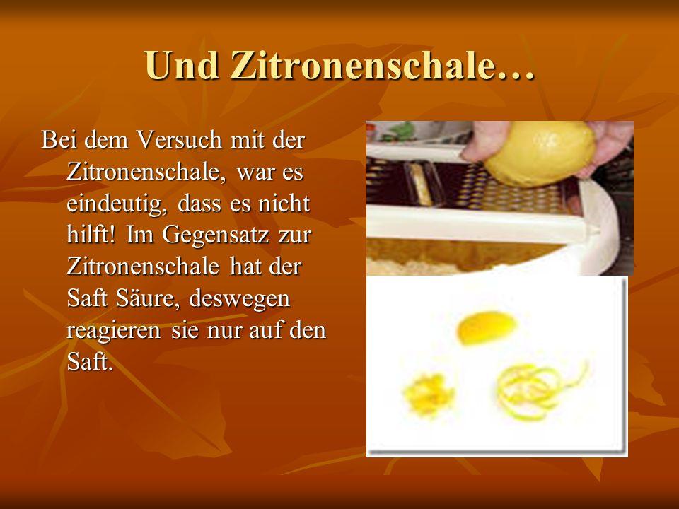 ERGEBNIS & ERKLÄRUNG Zitronensaft und geriebene Zwiebel hilft am besten!!.
