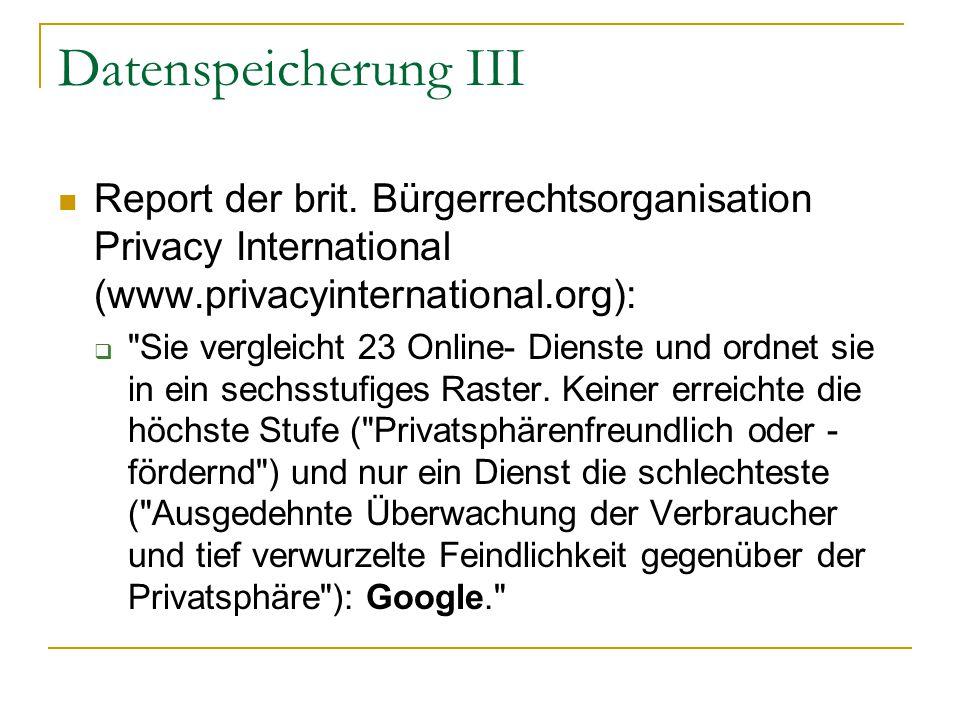 Datenspeicherung III Report der brit.