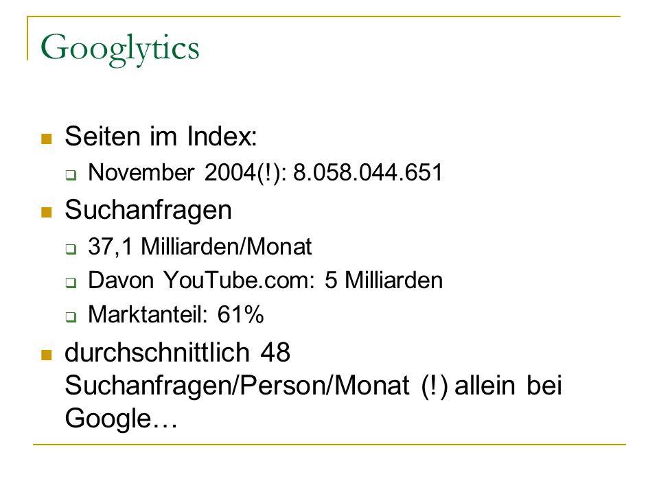 Googlytics Seiten im Index:  November 2004(!): 8.058.044.651 Suchanfragen  37,1 Milliarden/Monat  Davon YouTube.com: 5 Milliarden  Marktanteil: 61% durchschnittlich 48 Suchanfragen/Person/Monat (!) allein bei Google…