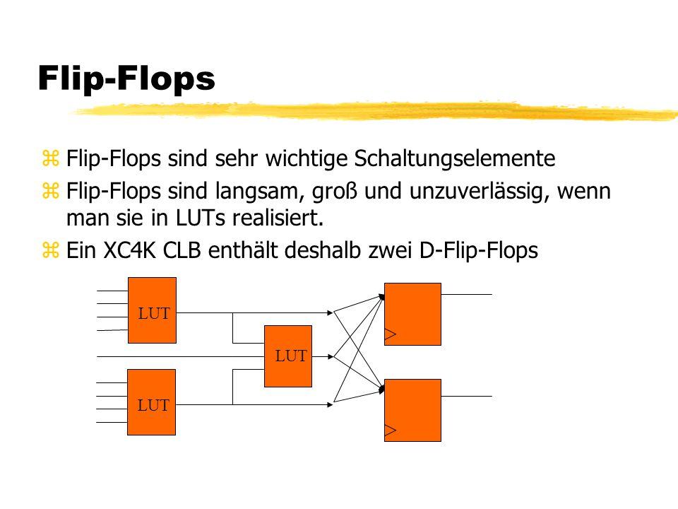 Flip-Flops zFlip-Flops sind sehr wichtige Schaltungselemente zFlip-Flops sind langsam, groß und unzuverlässig, wenn man sie in LUTs realisiert. zEin X