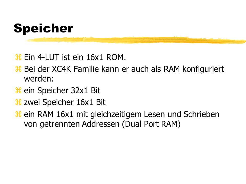 Speicher zEin 4-LUT ist ein 16x1 ROM. zBei der XC4K Familie kann er auch als RAM konfiguriert werden: zein Speicher 32x1 Bit zzwei Speicher 16x1 Bit z