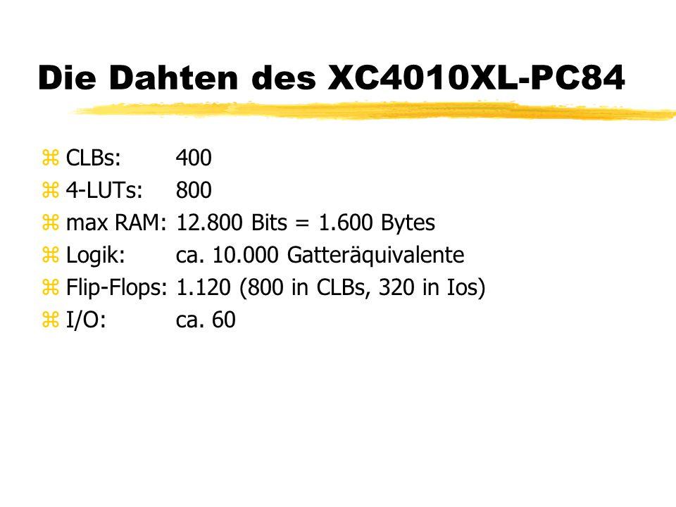 Die Dahten des XC4010XL-PC84 zCLBs:400 z4-LUTs:800 zmax RAM:12.800 Bits = 1.600 Bytes zLogik:ca. 10.000 Gatteräquivalente zFlip-Flops:1.120 (800 in CL