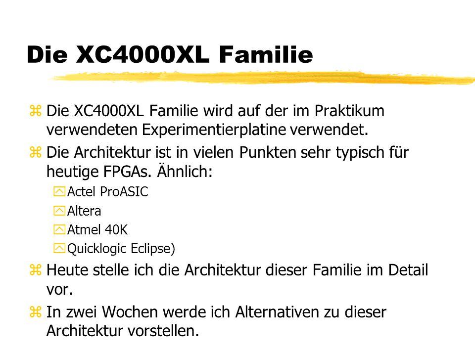 Die XC4000XL Familie zDie XC4000XL Familie wird auf der im Praktikum verwendeten Experimentierplatine verwendet. zDie Architektur ist in vielen Punkte